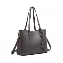 LG1902 - MISS LULU TRIPLE COMPARTMENT TOTE BAG - GREY