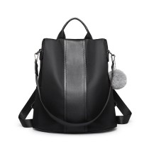 LG1903 - panna Lulu Two Way Backpack Shoulder Bag z Pom Pom Pendant - Black