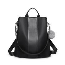 LG1903 --Miss Lulu Two Way Backpack Shoulder Bag with Pom Pom Pendant --Black
