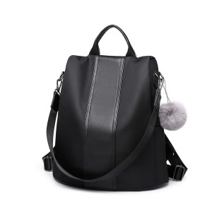 LG1903 - Miss Lulu Two Way Backpack Shoulder Bag with Pom Pom Pendant - Black