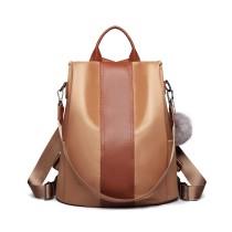 LG1903 - panna Lulu Two Way Backpack Shoulder Bag z Pom Pom Pendant - Brown