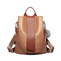 LG1903 --Miss Lulu Two Way Backpack Shoulder Bag with Pom Pom Pendant --Brown