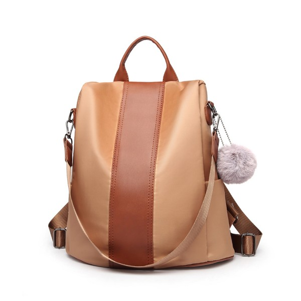 LG1903 - Miss Lulu Two Way Backpack Shoulder Bag with Pom Pom Pendant - Brown