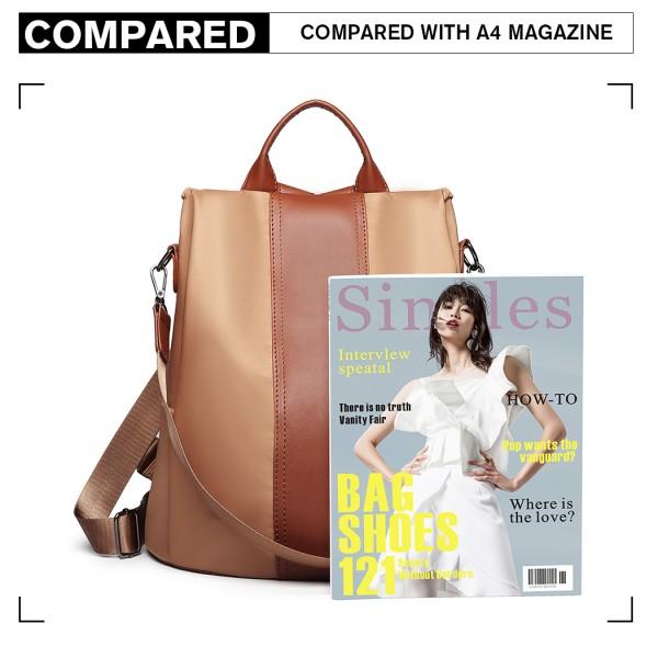 LG1903 - Miss Lulu Two Way Backpack Shoulder Bag with Pom Pom Pendant - Brown