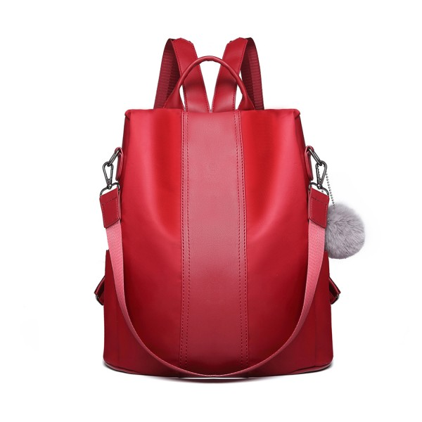 LG1903 - Miss Lulu Two Way Backpack Shoulder Bag with Pom Pom Pendant - Burgundy