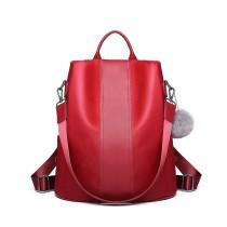 LG1903 --Miss Lulu Two Way Backpack Shoulder Bag with Pom Pom Pendant --Burgundy