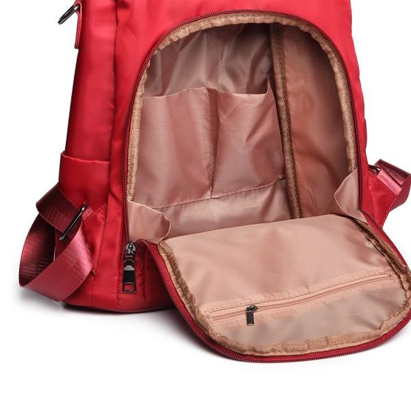 LG1903-MISS LULU NYLON HANDBAG POM POM PENDANT SHOULDER BAG BACKPACK BURGUNDY