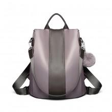 LG1903 - Miss Lulu Two Way Backpack Shoulder Bag with Pom Pom Pendant - Grey