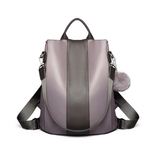 LG1903-MISS LULU NYLON HANDBAG POM POM PENDANT SHOULDER BAG BACKPACK GREY