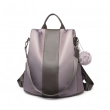 LG1903 - Miss Lulu Two Way Backpack Shoulder Bag with Pom Pom Pendant - Grey