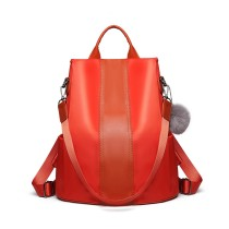 LG1903 --Miss Lulu Two Way Backpack Shoulder Bag with Pom Pom Pendant --Orange