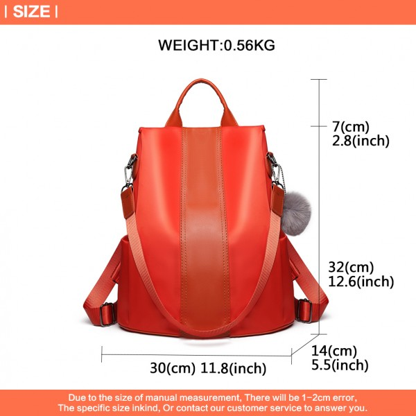LG1903 - Miss Lulu Two Way Backpack Shoulder Bag with Pom Pom Pendant - Orange