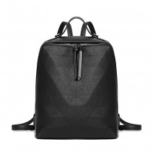 LG1904-MISS LULU PRISM PATTERN LEATHER LOOK BACKPACK BLACK