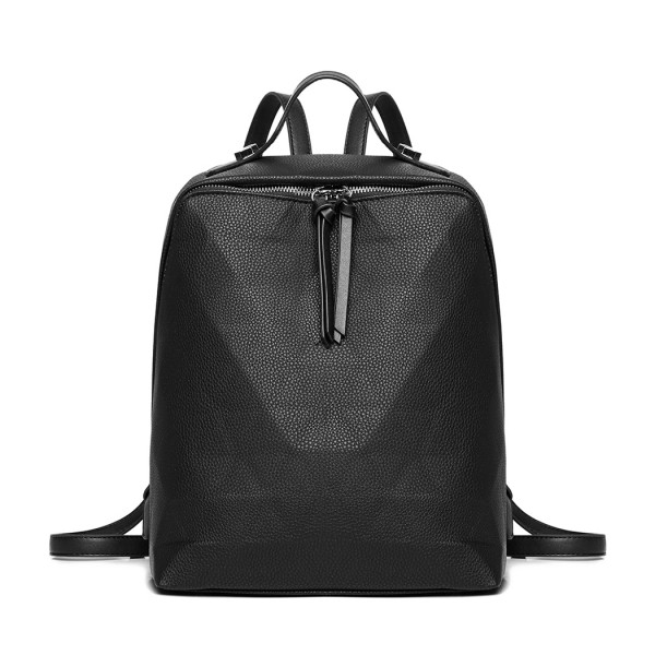 LG1904 - MISS LULU PRISM PATTERN LEATHER LOOK BACKPACK - BLACK