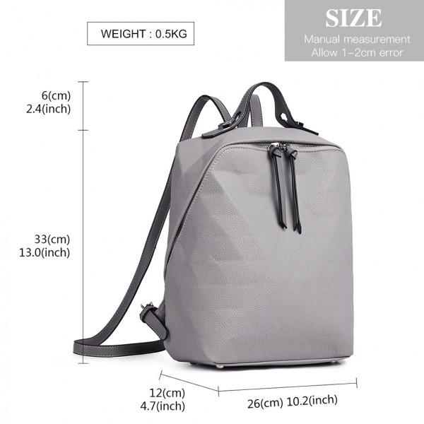 LG1904-MISS LULU PRISM PATTERN LEATHER LOOK BACKPACK GREY