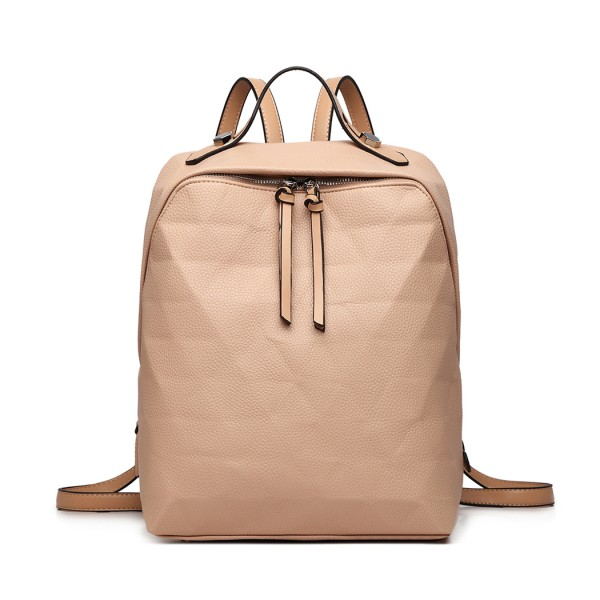 LG1904-MISS LULU PRISM PATTERN LEATHER LOOK BACKPACK KHAKI