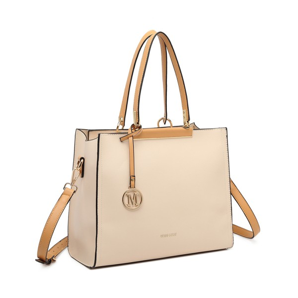 LG1907 - MISS LULU CLASSIC SIMPLE SHOULDER BAG - BEIGE