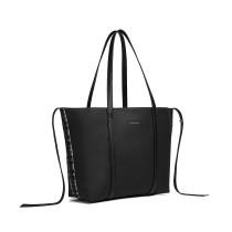 LG1922-MISS LULU PIEL LOOK TWO WAY TOTE SHOULDER BAG BLACK
