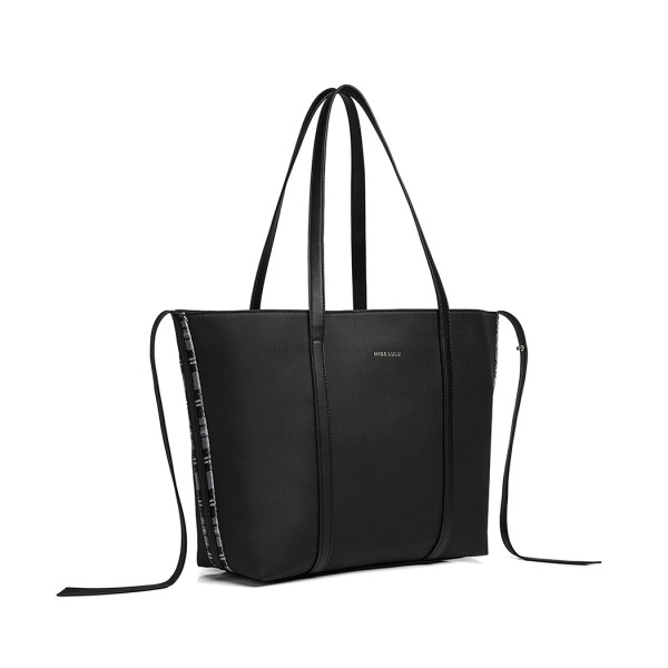 LG1922 - MISS LULU LEATHER LOOK TWO WAY TOTE SHOULDER BAG - BLACK