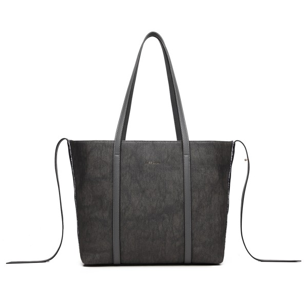 LG1922 - MISS LULU LEATHER LOOK TWO WAY TOTE SHOULDER BAG - GREY