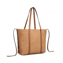 LG1922 - MISS LULU LEATHER LOOK TWO WAY TOTE SHOULDER BAG - KHAKI