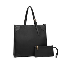 LG123- MISS LULU 2 PIECJA SIMPLE SQUARE SHULDER BAG- BLACK