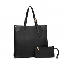 LG1923 - MISS LULU 2 PIECE SIMPLE SQUARE SHOULDER BAG - BLACK