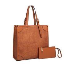 LG123- MISS LULU 2 PIECJA SIMPLE SQUARE SHULDER BAG- BROWN