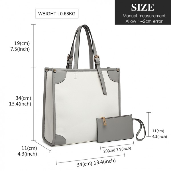 LG1923 - MISS LULU 2 PIECE SIMPLE SQUARE SHOULDER BAG - WHITE