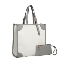 LG1923: miss Lulu 2 PIECE SIMPLE SQUARE BAG --WHITE