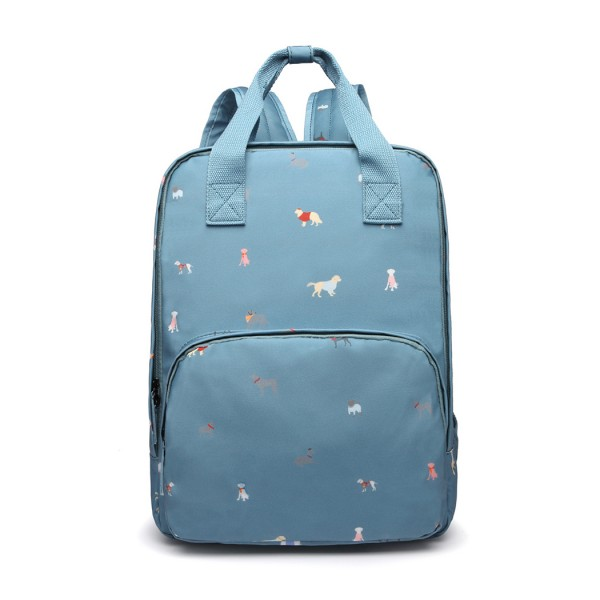 LG1928-MISS LULU 'DOGS IN JUMPERS' PRINT LAPTOP BACKPACK BLUE