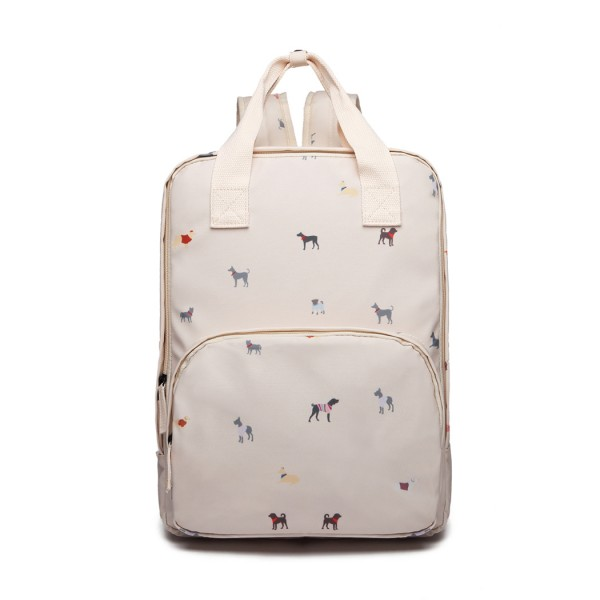 LG1928 - MISS LULU 'DOGS IN JUMPERS' PRINT LAPTOP BACKPACK - BEIGE