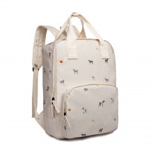 LG1928-MISS LULU 'DOGS IN JUMPERS' PRINT LAPTOP BACKPACK BEIGE
