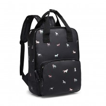 LG1928 - MISS LULU 'DOGS IN JUMPERS' PRINT LAPTOP BACKPACK - BLACK