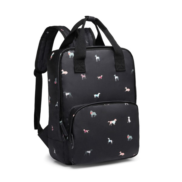 LG1928-MISS LULU 'DOGS IN JUMPERS' PRINT LAPTOP BACKPACK BLACK
