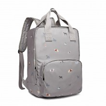 LG1928-MISS LULU 'DOGS IN JUMPERS' PRINT LAPTOP BACKPACK GREY