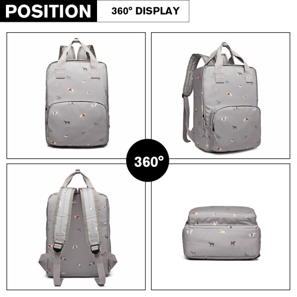 LG1928 - MISS LULU 'DOGS IN JUMPERS' PRINT LAPTOP BACKPACK - GREY