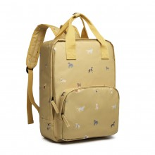 LG1928-MISS LULU 'DOGS IN JUMPERS' PRINT LAPTOP BACKPACK YELLOW