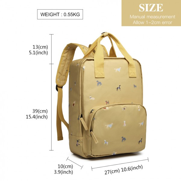 LG1928 - MISS LULU 'DOGS IN JUMPERS' PRINT LAPTOP BACKPACK - YELLOW