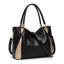 LG1942 - MISS LULU PEEKABOO CORNER SHOULDER BAG - BLACK