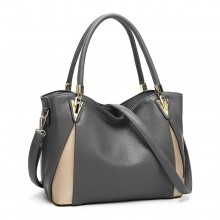 LG1942 - MISS LULU PEEKABOO CORNER SHOULDER BAG - GREY