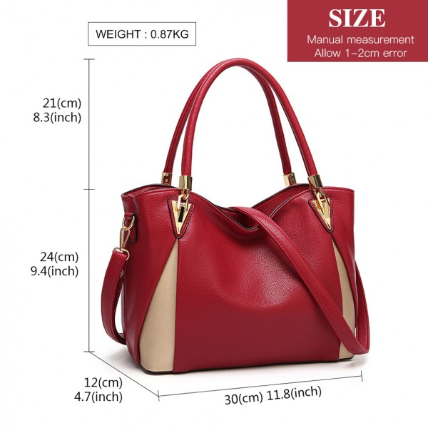 LG1942 - MISS LULU PEEKABOO CORNER SHOULDER BAG - RED