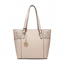 LG1943 - MISS LULU LASER CUT OUT TOTE SHOPPER BAG - BEIGE