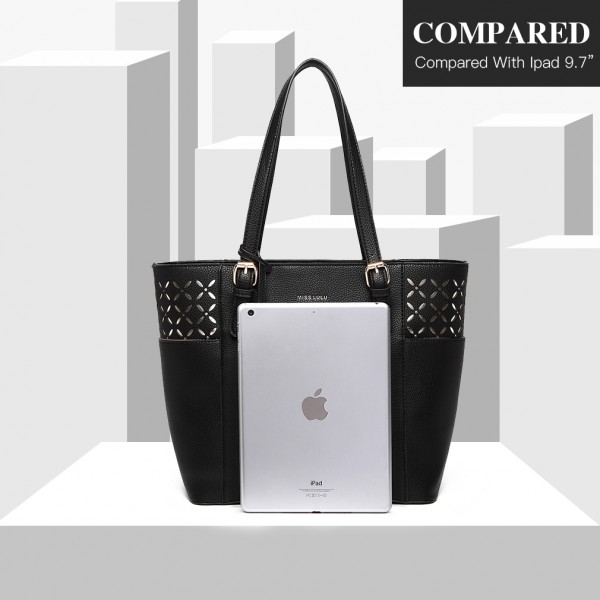 LG1943 - MISS LULU LASER CUT OUT TOTE SHOPPER BAG - BLACK