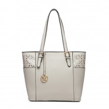 LG1943 - MISS LULU LASER CUT OUT TOTE SHOPPER BAG - GREY