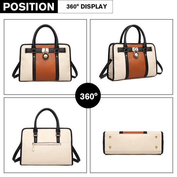 LG1944 - MISS LULU LEATHER LOOK PANEL SHOULDER BAG - BEIGE