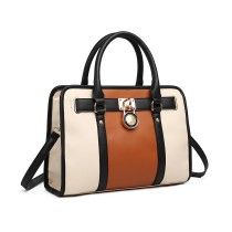 LIG1944- miss LULU LEATher look PANEL SHULDER BAG- BEIGE