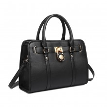 LG1944 - MISS LULU LEATHER LOOK PANEL SHOULDER BAG - BLACK