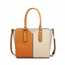 LG1948 - Miss Lulu Two Tone Winged Shoulder Bag - Beige