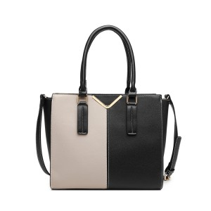 LG1948 - Miss Lulu Two Tone Winged Shoulder Bag - Black